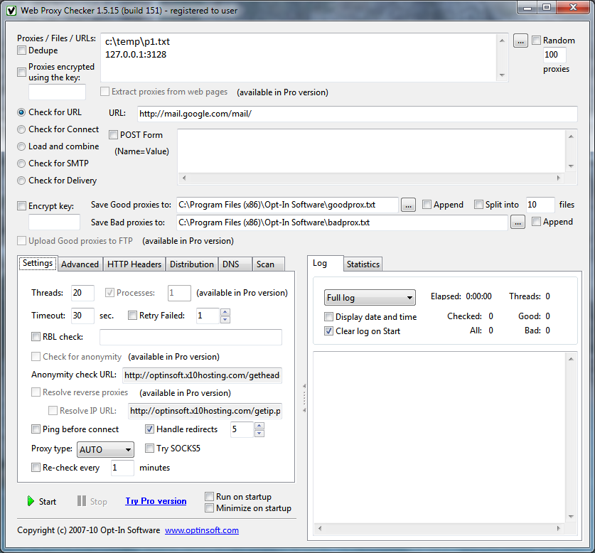 Screenshot #1 of Web Proxy Checker / Windows